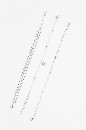 Sortie Aksesuar Kadın Gümüş Rengi 3lü Kombin Bileklik 055 1