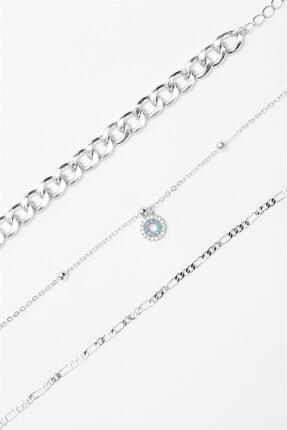 Sortie Aksesuar Kadın Gümüş Rengi 3lü Kombin Bileklik 055 2