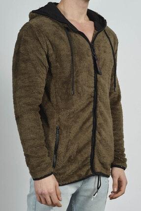 XHAN Erkek Haki Fermuarlı Kapüşonlu Peluş Sweatshirt 0