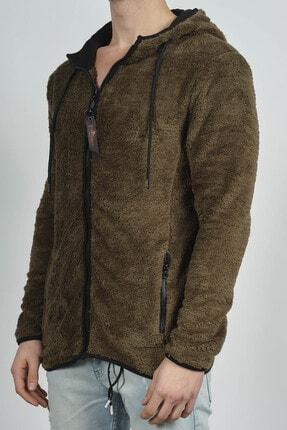 XHAN Erkek Haki Fermuarlı Kapüşonlu Peluş Sweatshirt 1