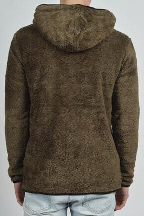 XHAN Erkek Haki Fermuarlı Kapüşonlu Peluş Sweatshirt 2