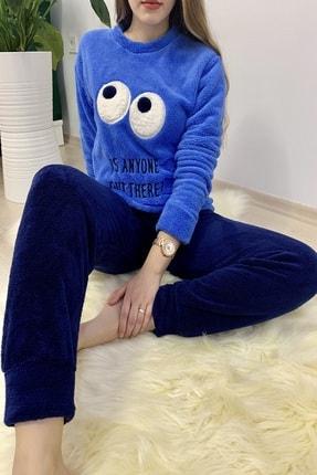 Sude Kadın Mavi Desenli Welsoft Pijama Takımı 1