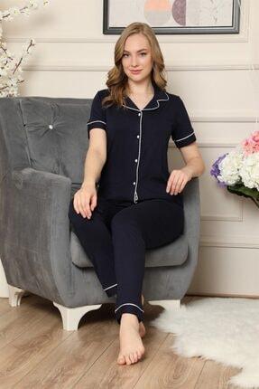 ARCAN Kadın Lacivert Kısa Kollu Önden Düğmeli Biye Detaylı Pijama Takımı 2