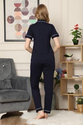 ARCAN Kadın Lacivert Kısa Kollu Önden Düğmeli Biye Detaylı Pijama Takımı 3