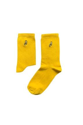 Socks Stations Unisex Sarı Muz Nakışlı Çorap Bere Seti 1