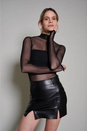 Zechka Kadın Siyah Boğazlı Tül Bluz 1