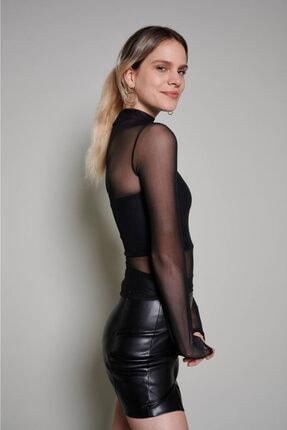 Zechka Kadın Siyah Boğazlı Tül Bluz 2