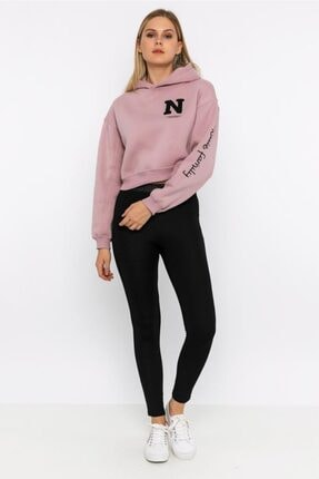 NOBLESSENCES Kadın Pudra Crop Sweatshirt 1