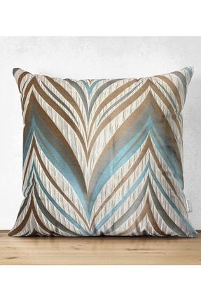 Realhomes Çift Taraflı Renklerin Uyumu Geometrik Tasarımlı Dekoratif Süet Yastık Kırlent Kılıfı 0