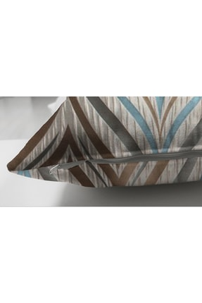 Realhomes Çift Taraflı Renklerin Uyumu Geometrik Tasarımlı Dekoratif Süet Yastık Kırlent Kılıfı 2