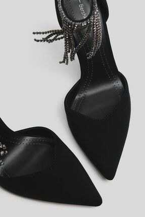 Bershka Kadın Siyah Parlak Taşlı Ince Topuklu Ayakkabı 1