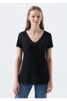 Mavi Kadın V Yaka Siyah Basic Tişört 0