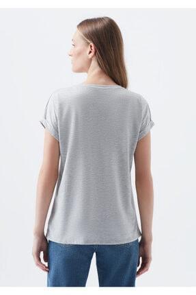 Mavi Kadın Logo Baskılı Gri Tişört 2
