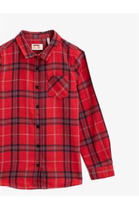 Koton Kız Çocuk Kırmızı Kareli Klasik Yaka Cepli Uzun Kollu Ekose Gömlek 2