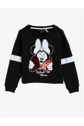 Koton Kız Çocuk Siyah Minnie Mouse Lisanslı Baskılı Pullu Bisiklet Yaka Sweatshirt 0