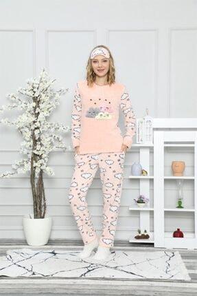 ARCAN Kadın Somon Bulut ve Yıldız Nakışlı Pijama Takımı 1128-37 0