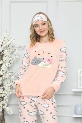 ARCAN Kadın Somon Bulut ve Yıldız Nakışlı Pijama Takımı 1128-37 1