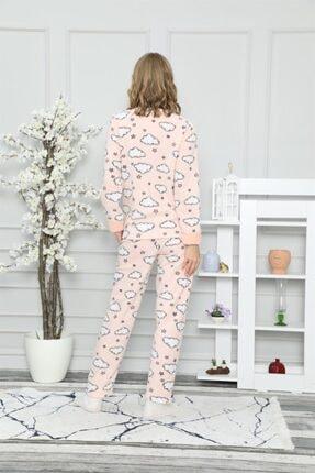 ARCAN Kadın Somon Bulut ve Yıldız Nakışlı Pijama Takımı 1128-37 3