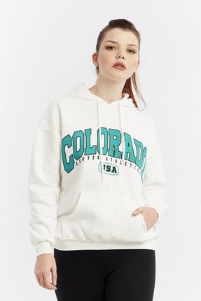 citycenterfashion Kadın Ekru Yazılı Kapüşonlu Sweatshirt Cty-abr-8253 0
