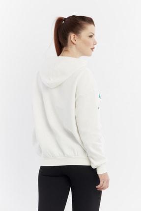 citycenterfashion Kadın Ekru Yazılı Kapüşonlu Sweatshirt Cty-abr-8253 3