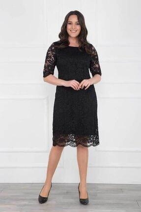 Modaxxl Giyim Kadın Siyah Kordeneli Dantel Abiye Elbise 1623 0