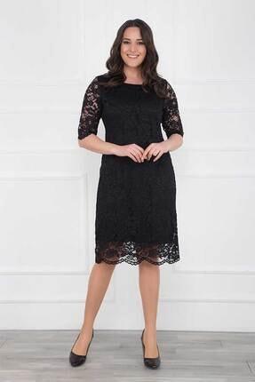 Modaxxl Giyim Kadın Siyah Kordeneli Dantel Abiye Elbise 1623 3