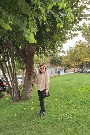 Mila Kadın Bej Ekose Gömlek 1