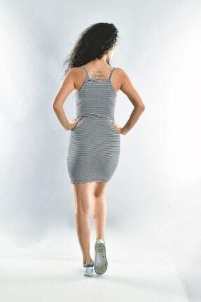 Cotton Mood Kadın Siyah Beyaz İp Askılı Elbise 2