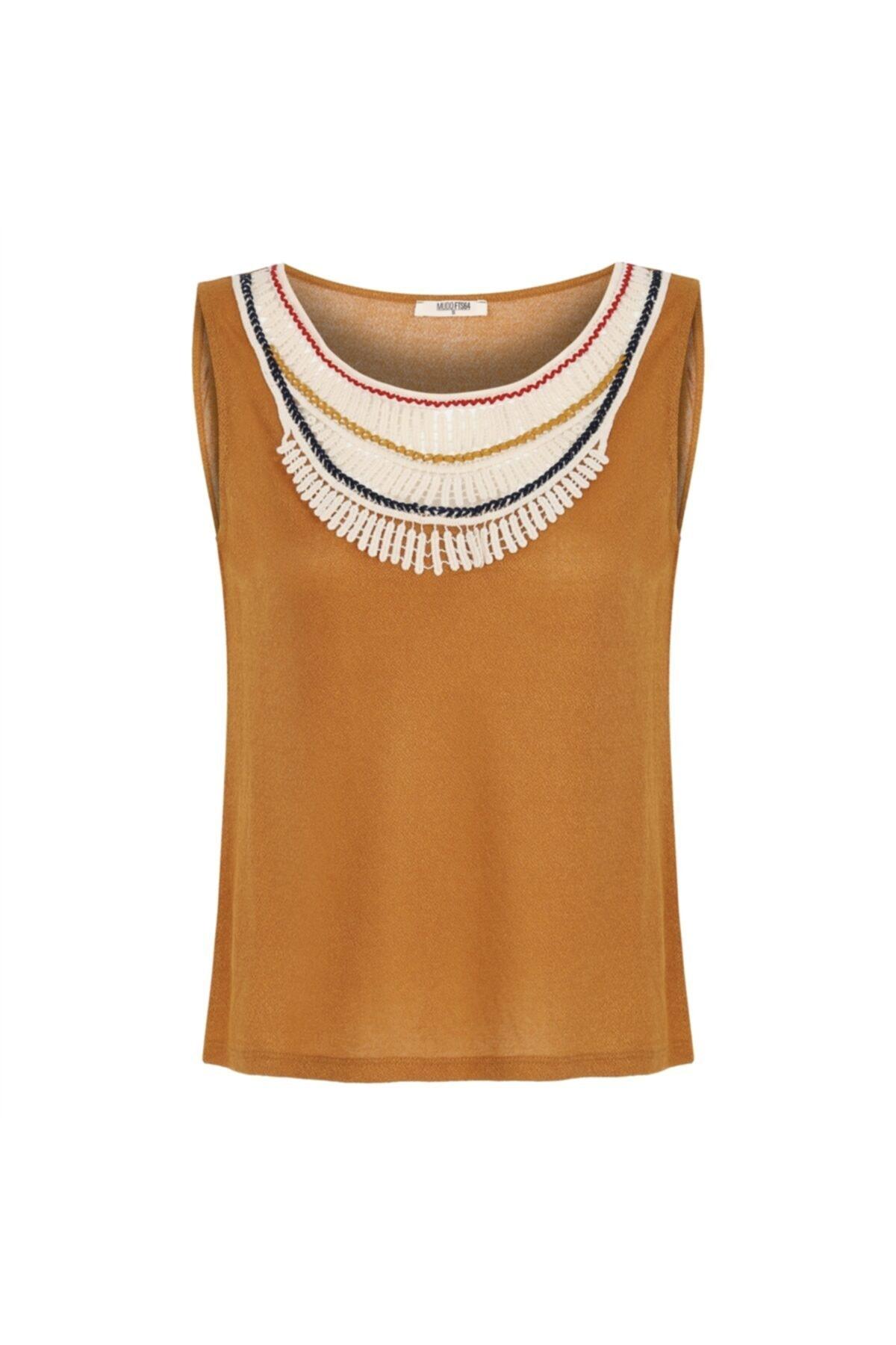 Kadın Kahverengi Dantelli Kolsuz Bluz 1217801
