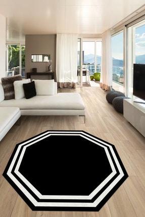 CAPPİO HALI Siyaz Beyaz Sekizgen Yuvarlak Halı 0