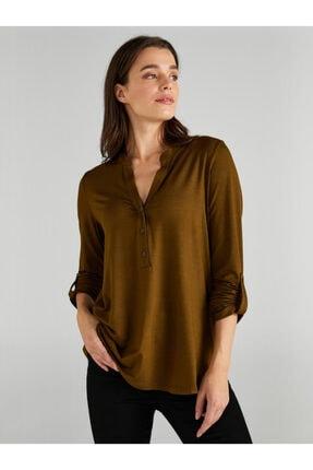 Faik Sönmez Kadın Yeşil Kaçık Yaka Uzun Kollu T-shirt 0