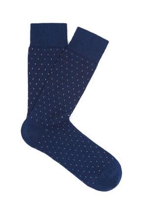 Mavi Desenli Lacivert Uzun Çorap 0