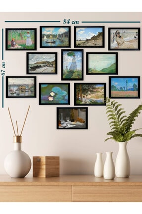 Ho27 12'li Claude Monet Çizimleri Tablo Seti (siyah Çerçeveli Görünümlü) 1
