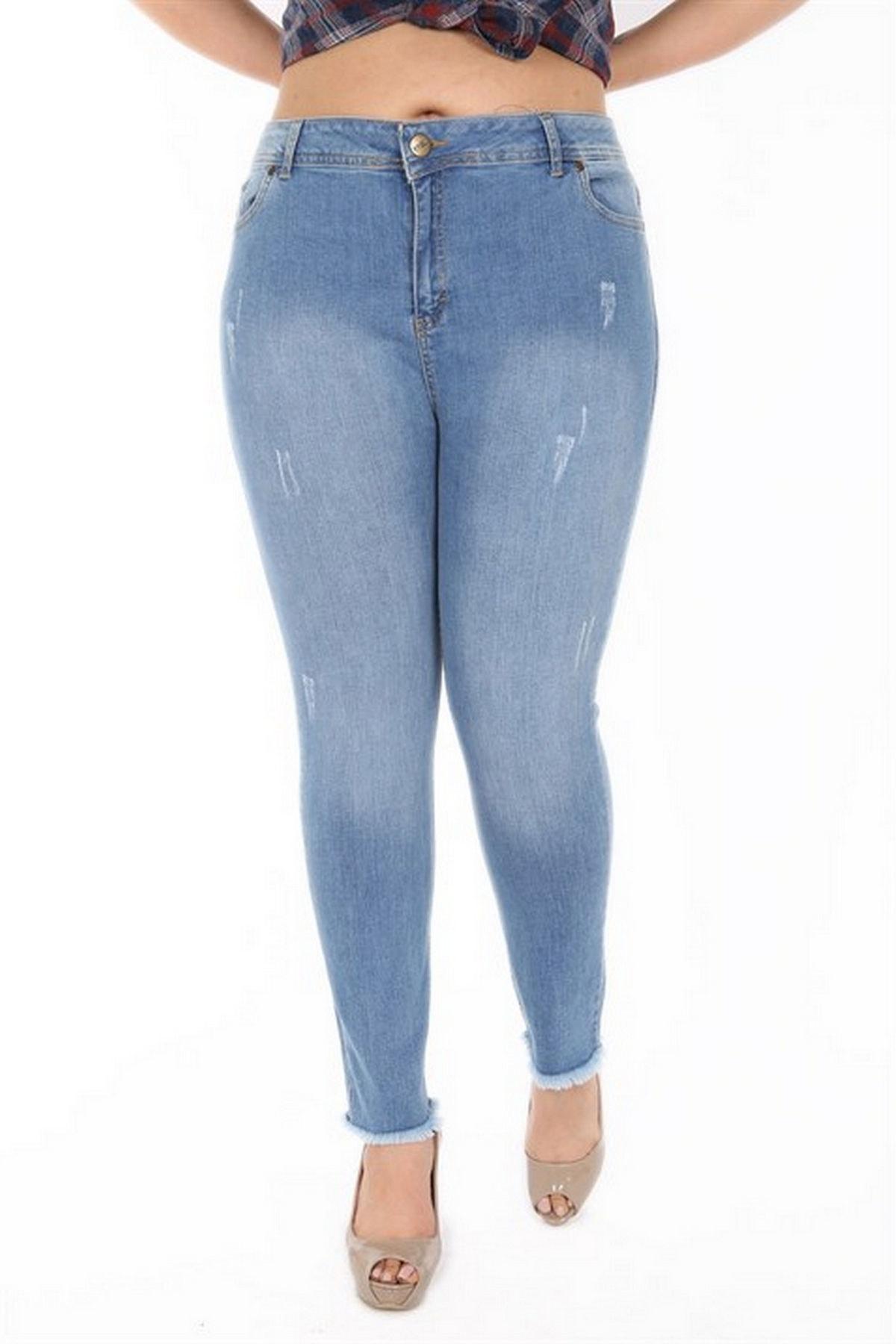 Kadın Mavi Kot Yüksek Bel Dar Paça Pantolon Rg1288