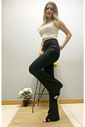 BENDEE BUTİK Kadın Siyah Önü Bağcıklı Ispanyol Pantolon 2