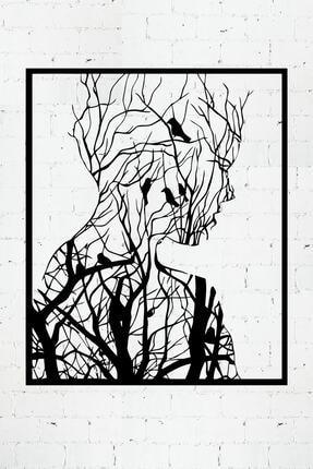 PAYİDARTS Ormandan Doğan Kadın Lazer Kesim Metal Duvar Tablo 70x87cm 0