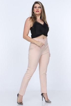 Rmg Kadın Krem Kumaş Yüksek Bel Düz Paça Pantolon Rg1294 0