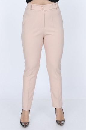 Rmg Kadın Krem Kumaş Yüksek Bel Düz Paça Pantolon Rg1294 2