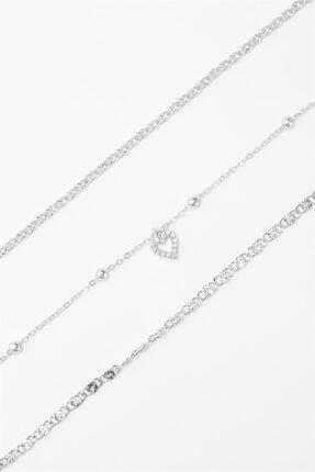 Sortie Aksesuar Kadın Gümüş Kalp Figürlü 3lü Kombin Bileklik 043 2
