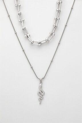 Sortie Aksesuar Kadın Gümüş Kombin Kolye 057 4