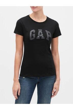 GAP Kadın Siyah Logo Kısa Kollu T-shirt 0