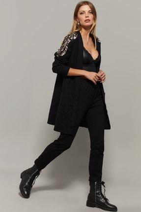 Cool & Sexy Kadın Siyah Omuzları Payetli Hırka PKA723 1