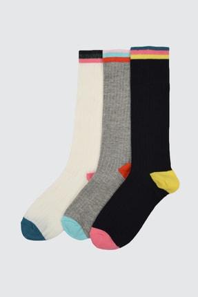 Picture of 3'lü Çok Renkli Örme Çorap TWOAW21CO0115