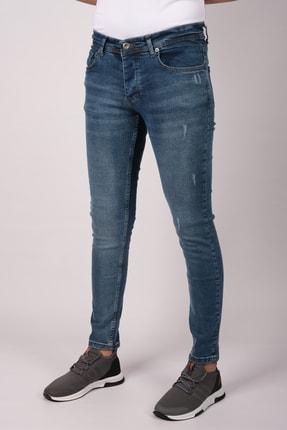 bombe Erkek Slim Fit Dar Kesim Kot Pantolon Mavi 0