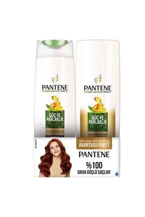 Pantene Güç Ve Parlaklık Şampuan 300 ml Saç Kremi 180 ml 0