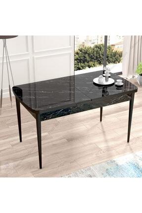 Canisa Concept Canisa Eva Serisi Mdf Siyah Mermer Desen,ahşap Siyah Ayaklı Açılabilir Üst Kalite Mutfak Masası 0