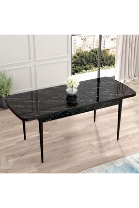 Canisa Concept Canisa Eva Serisi Mdf Siyah Mermer Desen,ahşap Siyah Ayaklı Açılabilir Üst Kalite Mutfak Masası 1