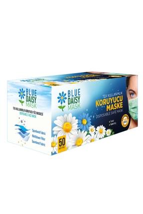 BlueDaisyMask Meltblown Filtreli Cerrahi 3 Katlı Telli Kokusuz Beyaz 50'li Kutu Maske 0