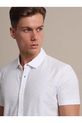 Kip Erkek Beyaz Jakarlı Örme T - Shirt 1