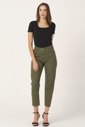 its basic Kadın Yüksek Bel Haki Renk Mom Jean 2